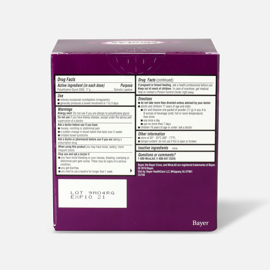MiraLAX Laxative Powder for Solution - 10 ea, , large image number 1