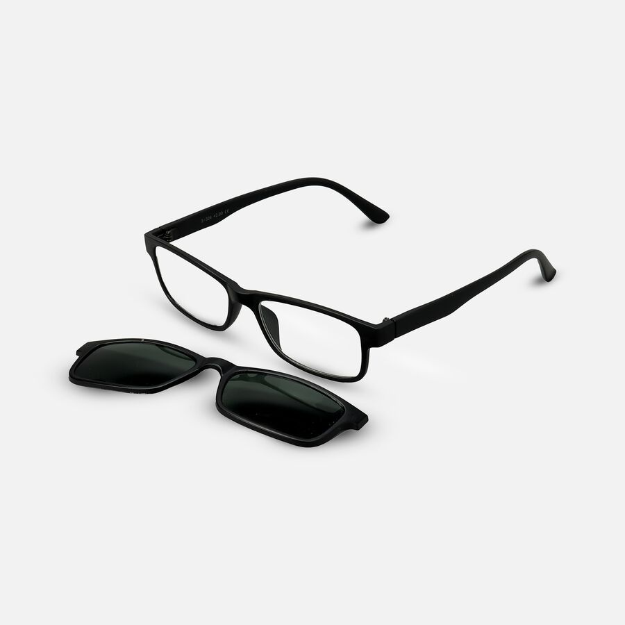 Sunglass Reader with Magnetic Detachable Polarized Lens, +2.00, Black/G15, Black, large image number 2