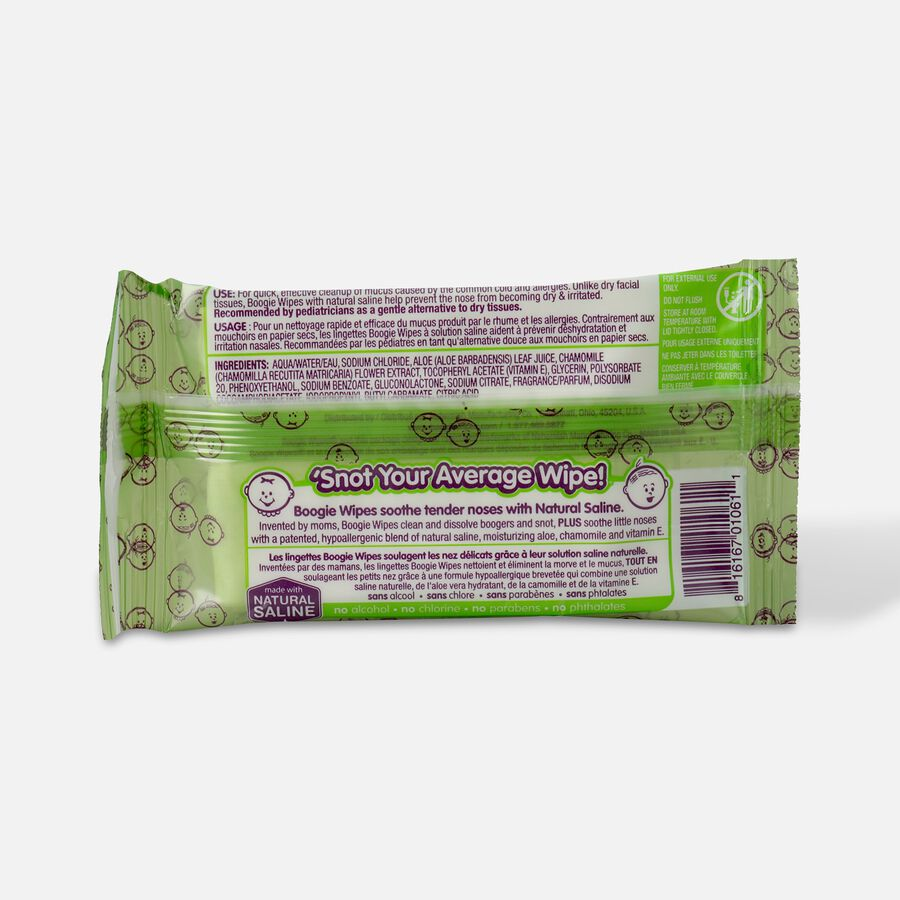 Boogie Wipes Saline Nose Wipes, Fresh Scent Travel Pack, 10ct, , large image number 1
