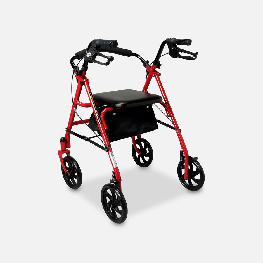 "Drive Aluminum Rollator with Fold Up and Removable Back Support, 7"" Casters, Red, , large image number 1"