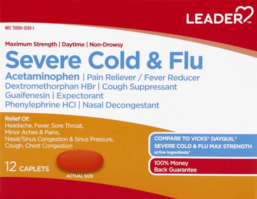 LEADER™ Cold & Flu Severe Daytime Maximum Strength Caplets 12 ct, , large image number 0