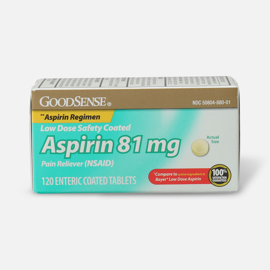 GoodSense® Low Dose Safety Coated Aspirin 81 mg 120 tablets, , large image number 0