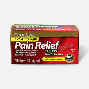 GoodSense® Pain Relief 500 mg Sweet Coated Easy to Swallow Tablet, 50 ct