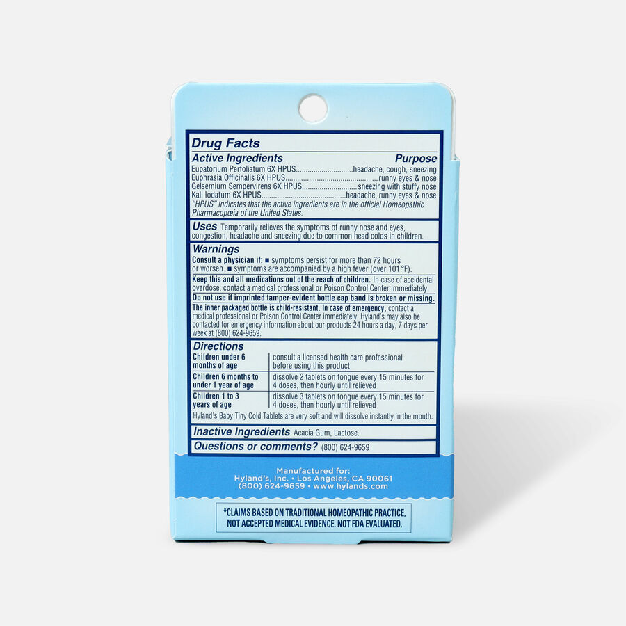 Hyland's Baby Tiny Cold Tablets, 125 ct, , large image number 1