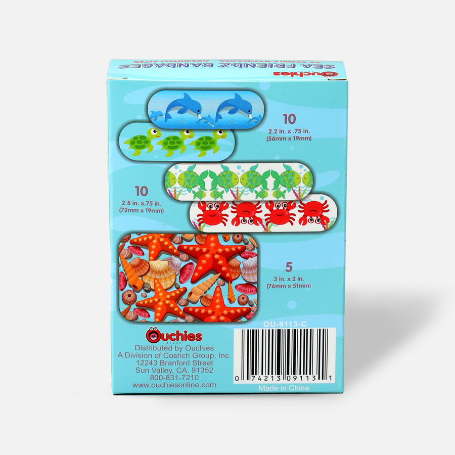 Ouchies Sea Friendz Bandages for Kids, 25 ct, , large image number 1