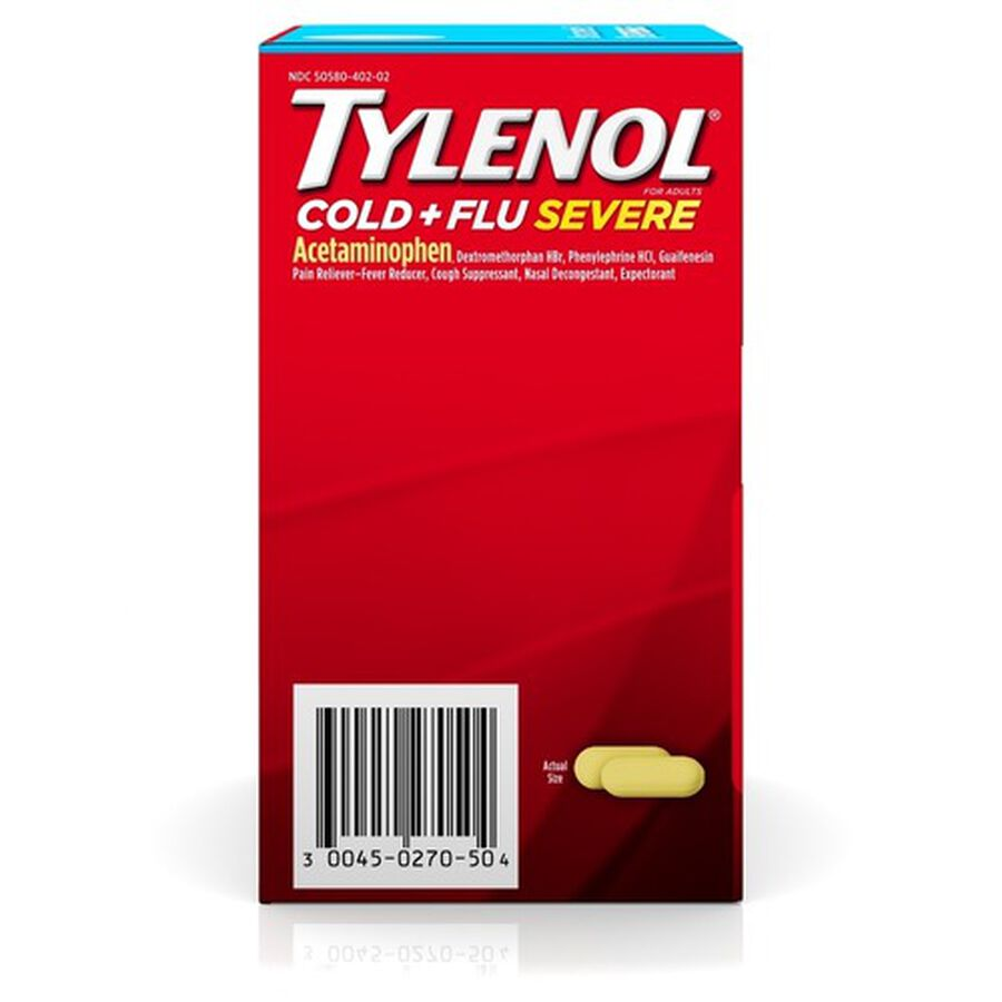 Tylenol Cold + Flu Severe Medicine Caplets, 50 pouches of 2 ct., , large image number 1