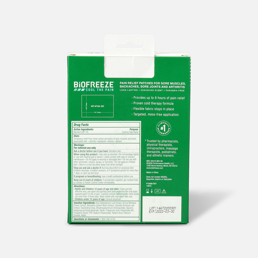 Biofreeze Pain Relief Patch, Large, 5ct, , large image number 1