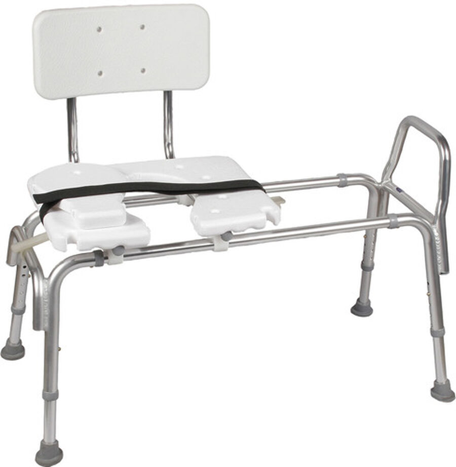 DMI® Sliding Transfer Bench Shower Chair with Cut-Out Seat, , large image number 0