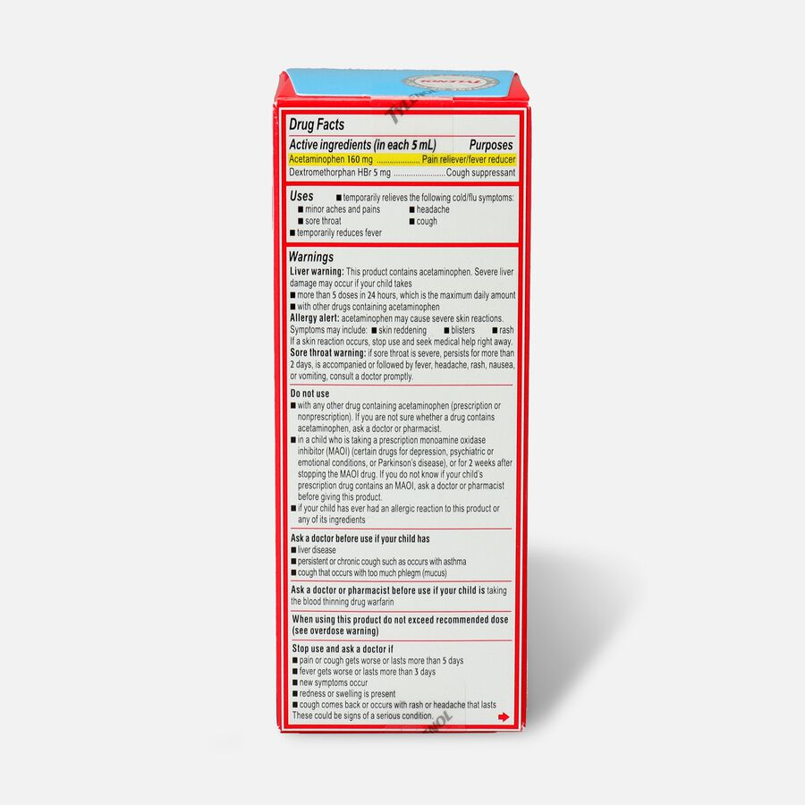 Children's Tylenol Cold + Cough + Sore Throat, Bubblegum Flavor, 4 fl oz, , large image number 1