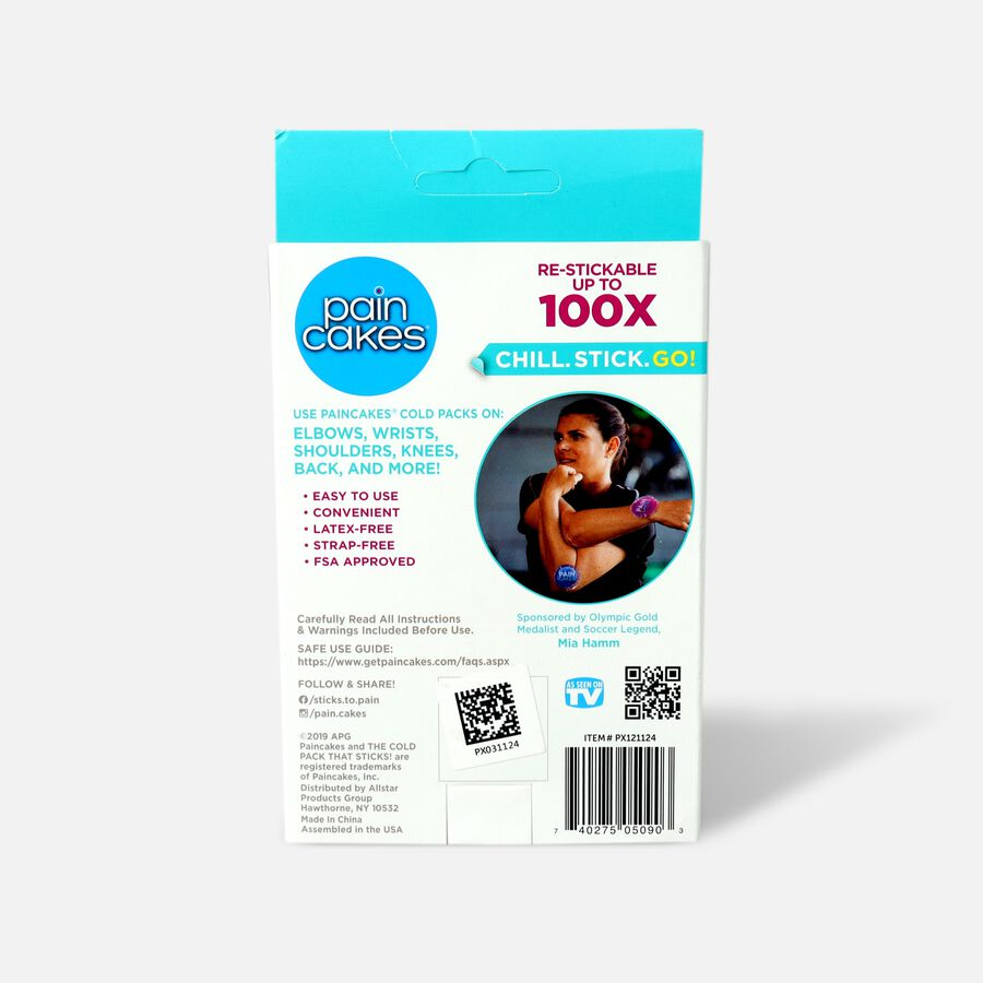 """PainCakes Stick & Stay Cold Packs, 5"""", Blue, Blue, large image number 1"""