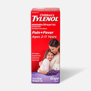Children's Tylenol Fever Reducer & Pain Reliever, Ages 2-11, Grape Splash, 4 fl oz