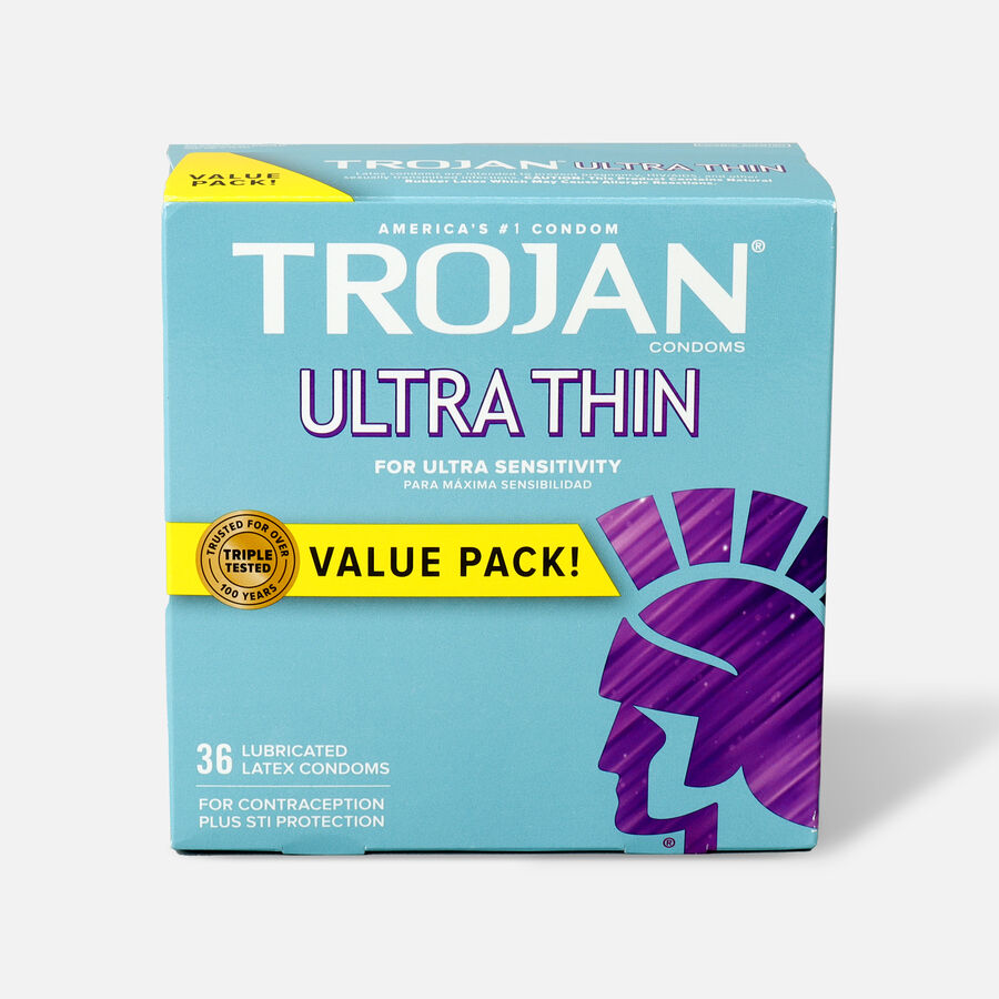 Trojan Ultra Thin Lubricated Latex Condoms, 36 ea, , large image number 0