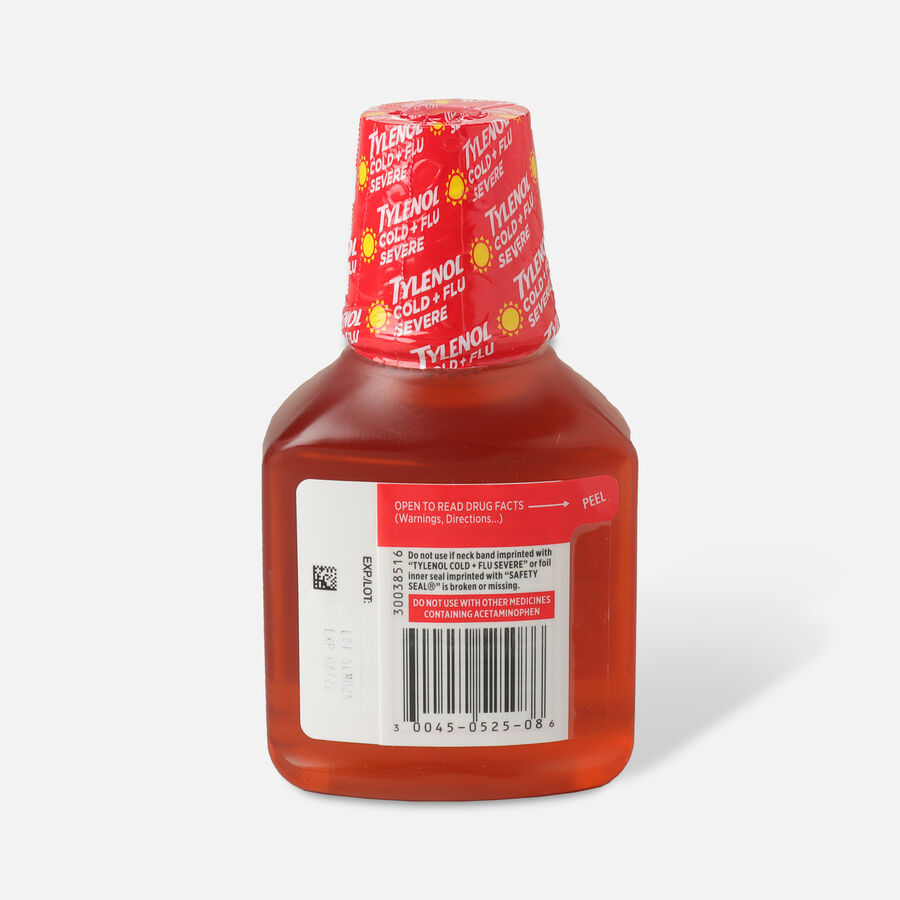 Tylenol Cold + Flu Severe Warming Honey Lemon Liquid, 8 fl oz, , large image number 1