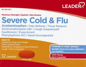 LEADER™ Cold & Flu Severe Daytime Maximum Strength Caplets 12 ct