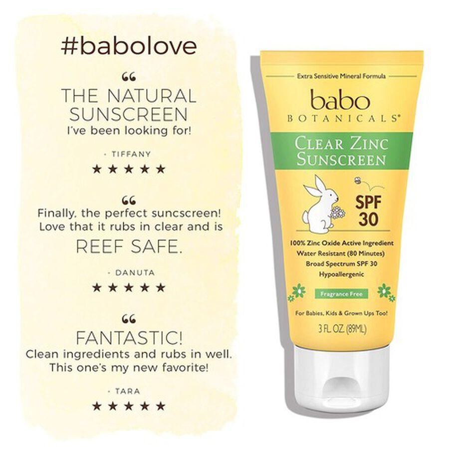 Babo Botanicals Clear Zinc Sunscreen Lotion SPF 30, 3oz. - 2 Pack, , large image number 5