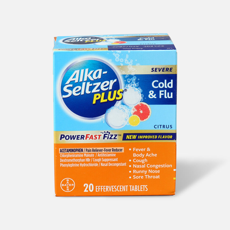 Alka-Seltzer Plus Severe Cold & Flu Powerfast Fizz Tablets, Citrus - 20 ct, , large image number 0