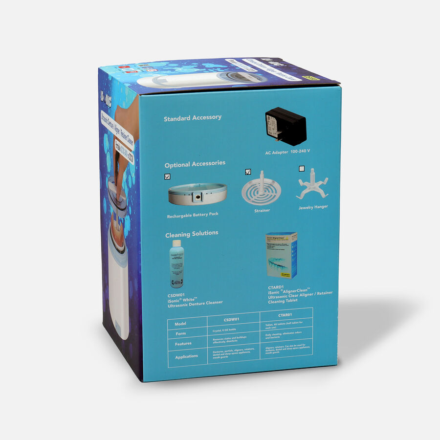 iSonic Ultrasonic Portable Denture & Retainer Cleaner with Rechargeable Battery DS180, , large image number 6