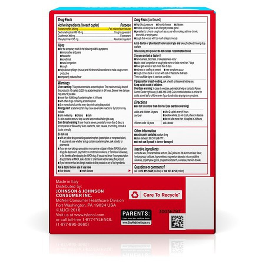 Tylenol Cold + Flu Severe Medicine Caplets, 50 pouches of 2 ct., , large image number 2