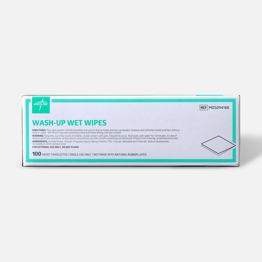 "Medline® Industries Wash-up Wet Towelettes, 5"" x 7"", Box of 100, , large image number 1"