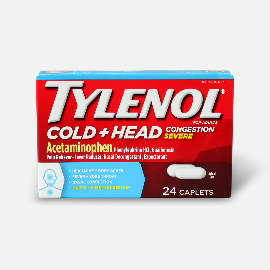 Tylenol Cold + Head Congestion Severe Medicine Caplets, 24 ct., , large image number 0