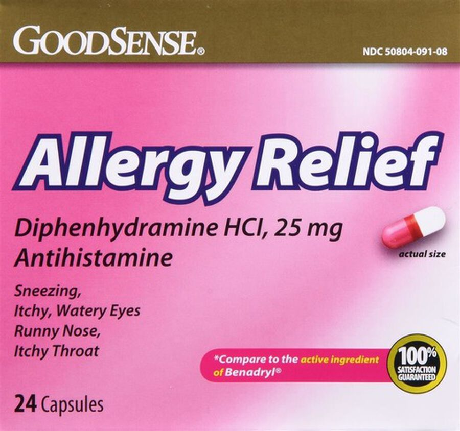 GoodSense® Allergy Relief Diphenhydramine HCI, 25 MG Capsules 24 ct, , large image number 0