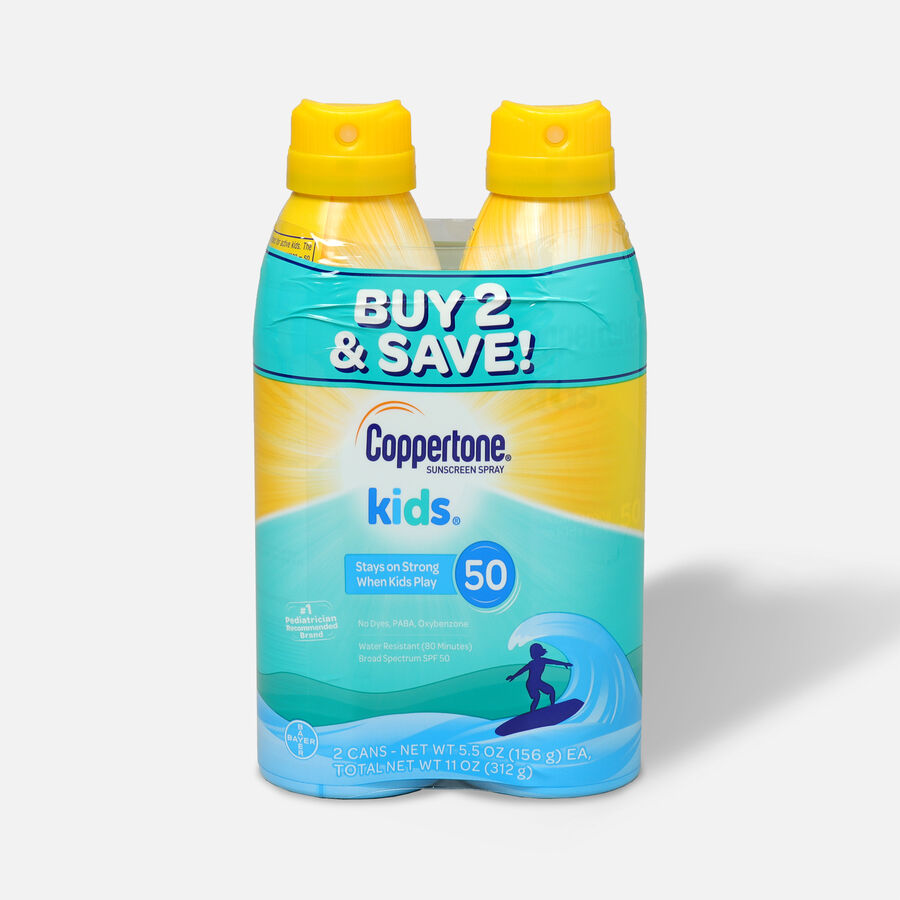 Coppertone Kids Sunscreen Spray SPF 50, Twin Pack, 5.5 oz each, , large image number 0