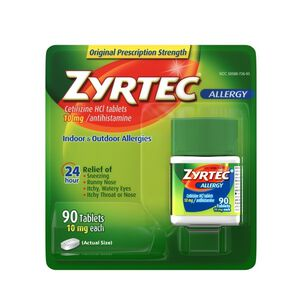 Zyrtec Adult Allergy Relief Tablets, 10mg, 90 ct