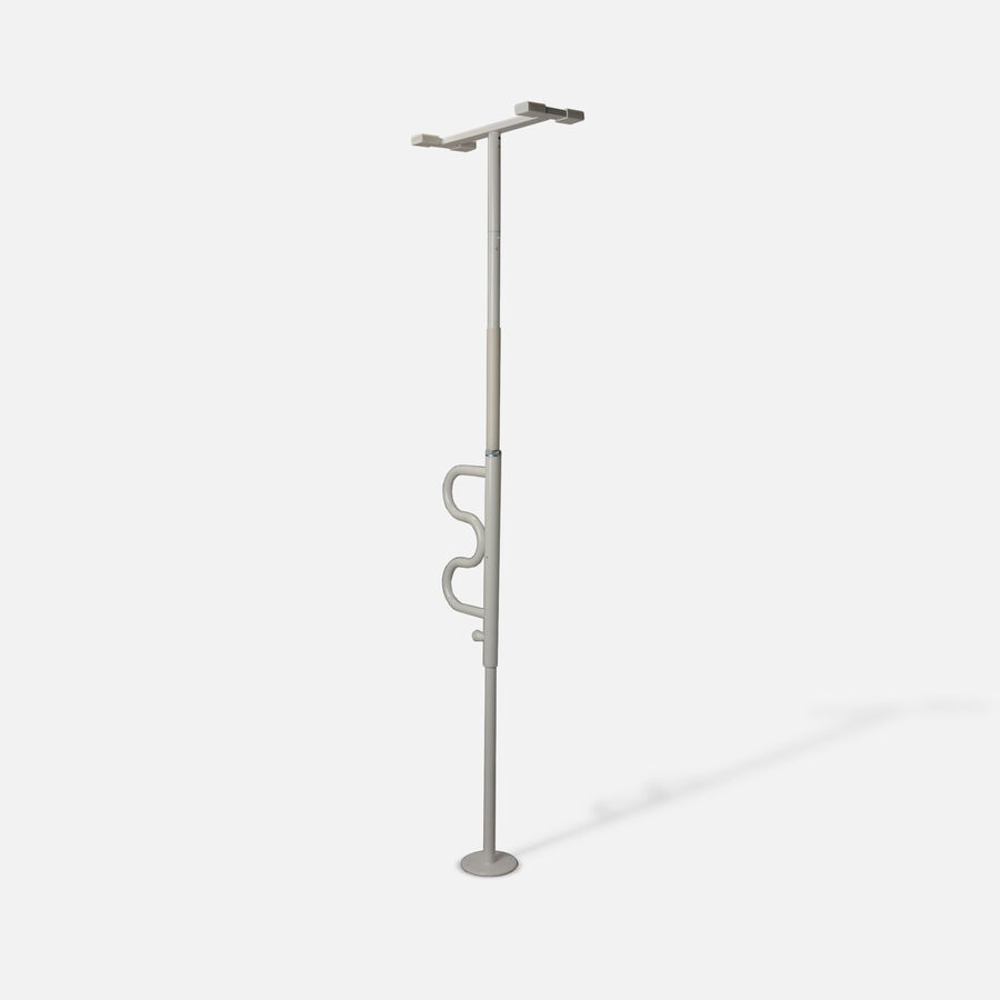 Stander Security Pole & Curve Grab Bar, White, White, large image number 2