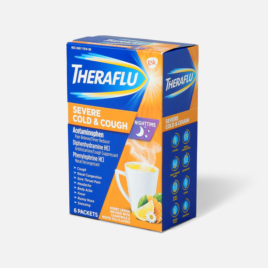 Theraflu Night Time Severe Cold & Cough Powder, Honey Lemon Infused with White Tea and Chamomile, 6 ct, , large image number 2