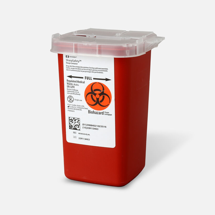Kendal 8900SA Sharps Container 1 Quart, Red, , large image number 2