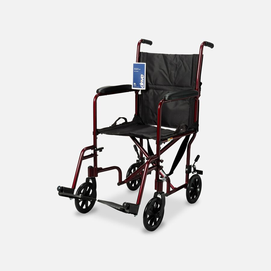 """Drive Lightweight Transport Chair, 19"""", Red, , large image number 0"""