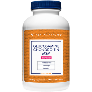 Vitamin Shoppe Glucosamine Chondroitin With MSM, Raspberry Chewable Wafers, 120 ct