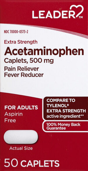 LEADER™ Acetaminophen Adult Extra Strength 500mg Caplets 50 ct