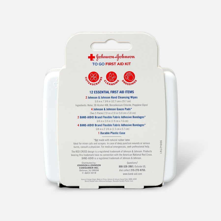 Johnson & Johnson First Aid To Go! Essential Emergency First Aid Travel Kit, 12 pieces, , large image number 1