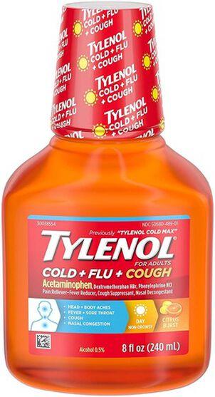 Tylenol Cold + Flu + Cough, Cold Medicine, Liquid Daytime Flu Relief, Citrus Burst, 8 fl. oz