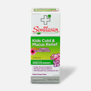 Similasan Kids Cold & Mucus Relief, Plus Echinacea Syrup, Grape, 4fl. oz.