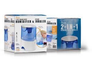 Crane Classic 2-in-1 Warm Mist Humidifier and Steam Inhaler, Blue/White