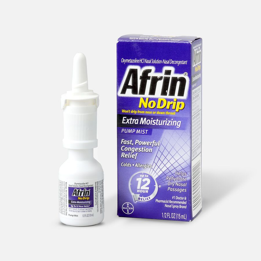 Afrin No Drip 12 Hour Pump Mist, Extra Moisturizing, .5 fl oz, , large image number 0