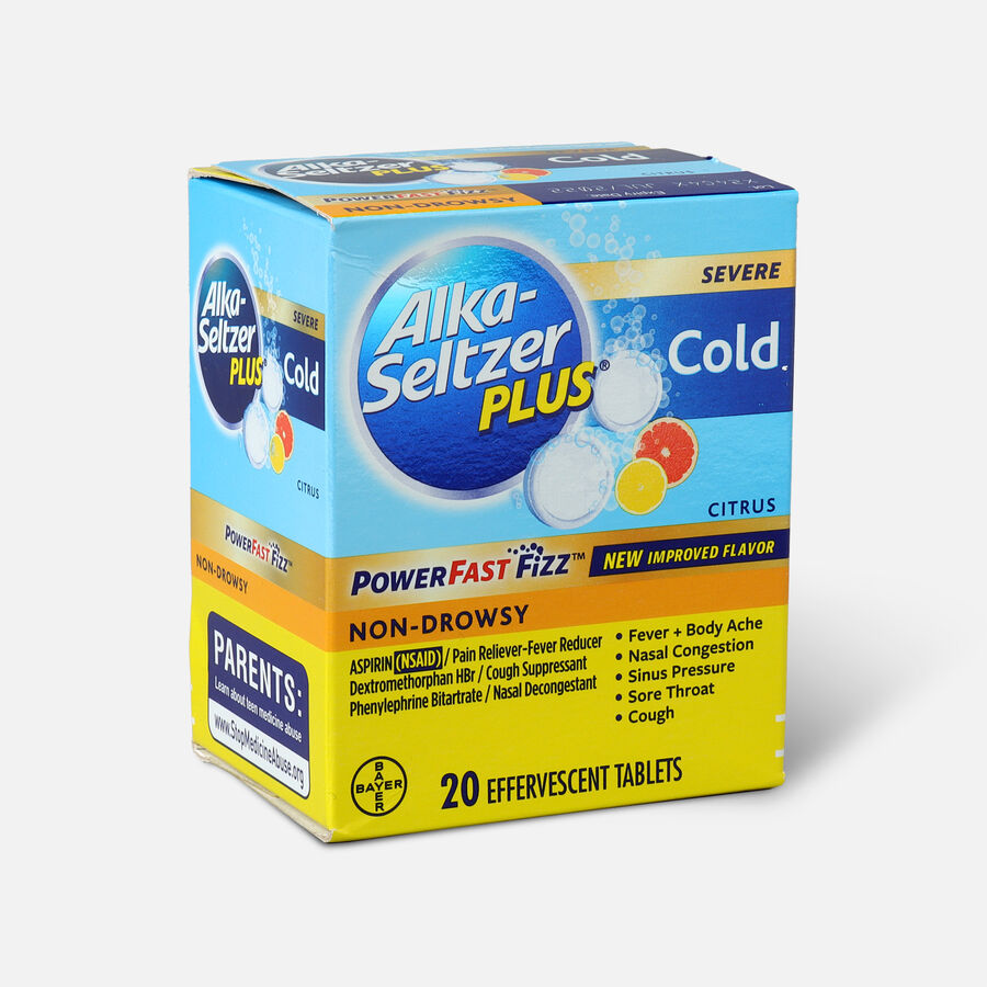 Alka-Seltzer Plus Severe Cold Powerfast Fizz Effervescent Tablets, Citrus, 20 Count, , large image number 2