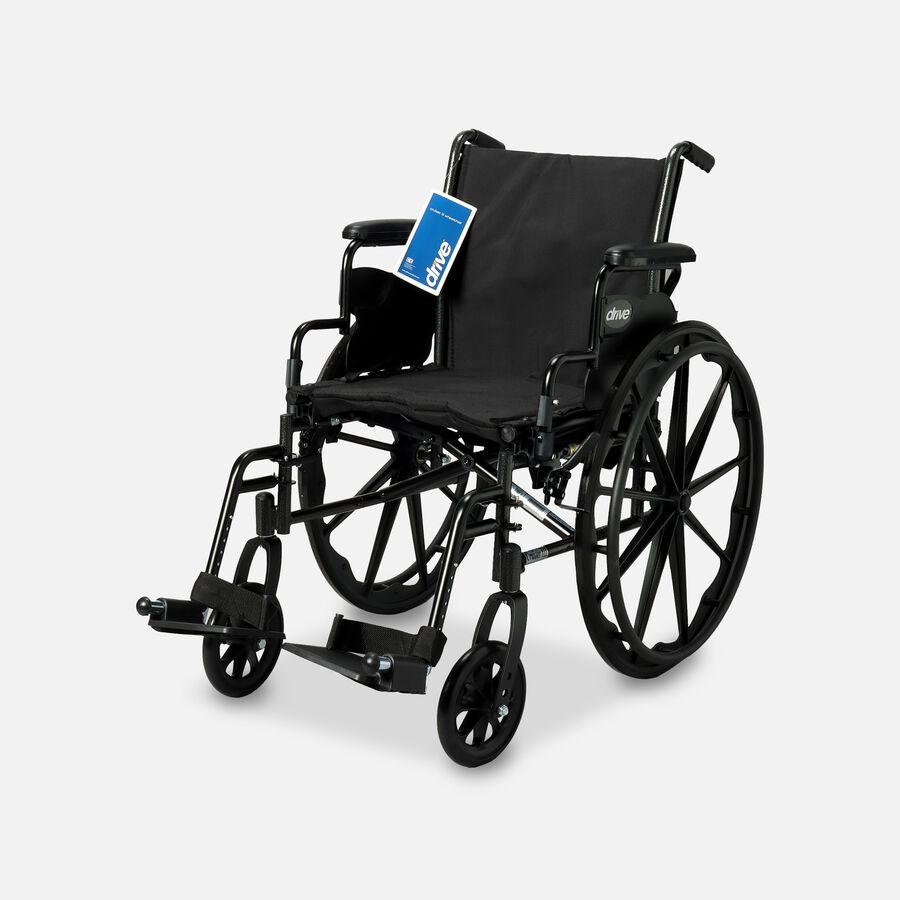 """Drive Cruiser III Lightweight Wheelchair, Swing Away Footrests, 18"""", Black, , large image number 0"""