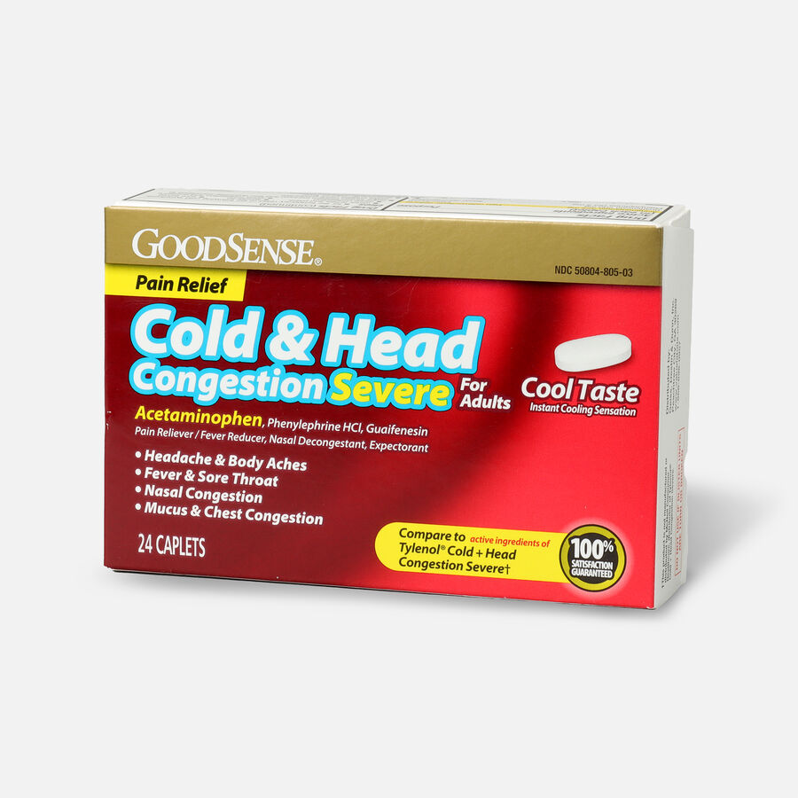 GoodSense® Cold & Head Congestion Severe Adult Caplets, 24 ct, , large image number 2