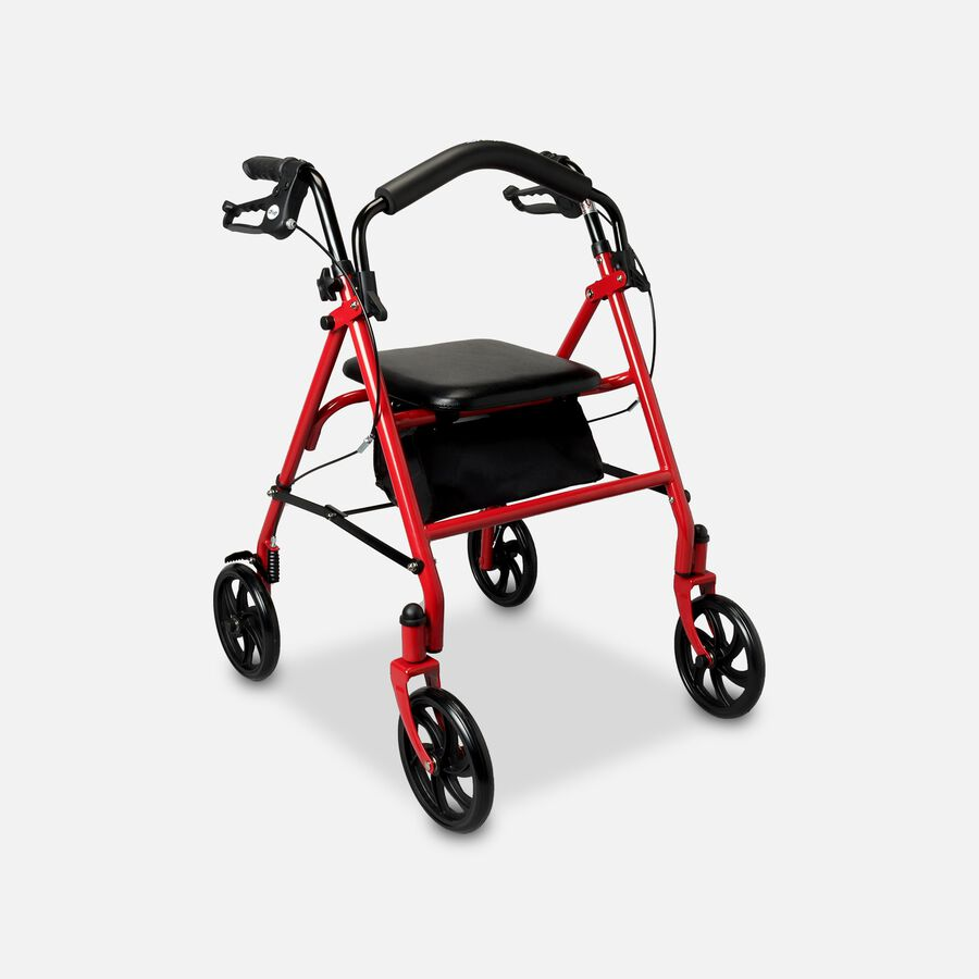 "Drive Aluminum Rollator with Fold Up and Removable Back Support, 7"" Casters, Red, , large image number 2"