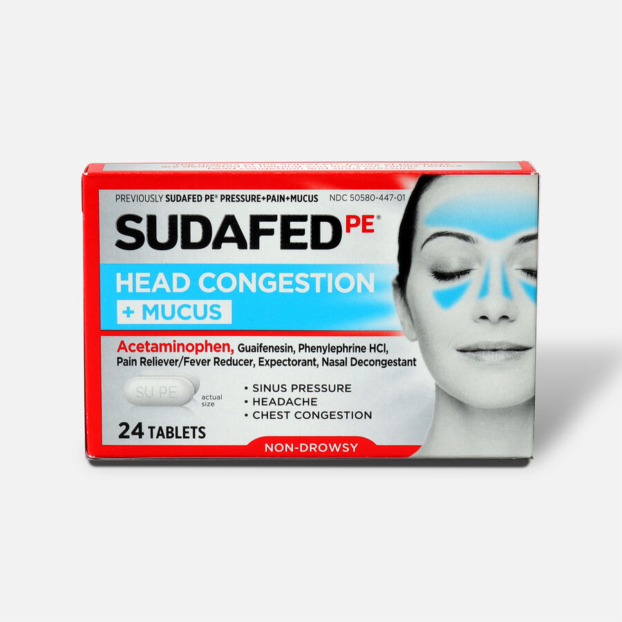 Sudafed PE Sinus Head Congestion + Mucus Non-Drowsy Tablets 24 ct, , large image number 0