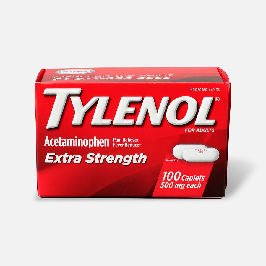 Tylenol Extra Strength Caplets, Fever Reducer and Pain Reliever, 500 mg, 100 ct., , large image number 0