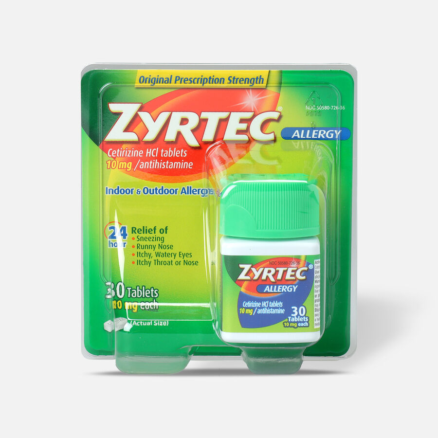 Zyrtec Allergy Tablets, 10 mg Capsule, 30 Count, , large image number 0