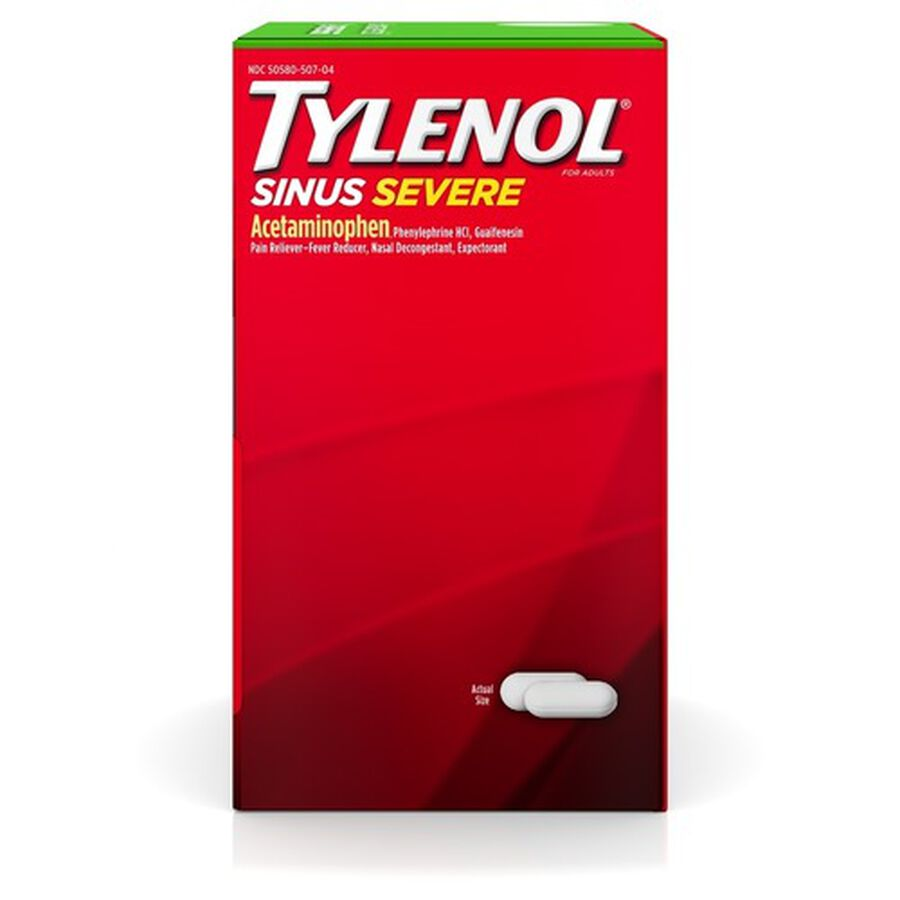 Tylenol Sinus Severe Non-Drowsy Daytime Caplets, 50 Packs of 2 ct, , large image number 3