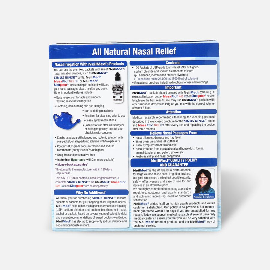 NeilMed Sinus Rinse Regular Refill Packets, 100 ea, , large image number 1