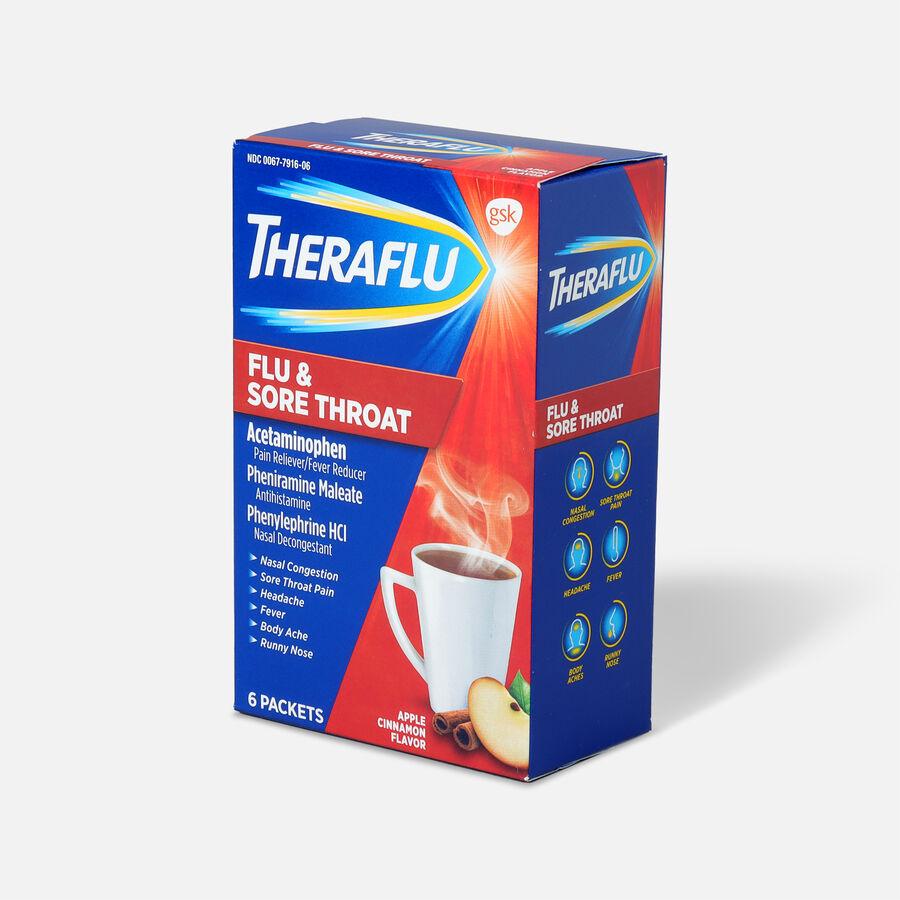 Theraflu Flu & Sore Throat Powder, Apple Cinnamon, 6 ct, , large image number 2
