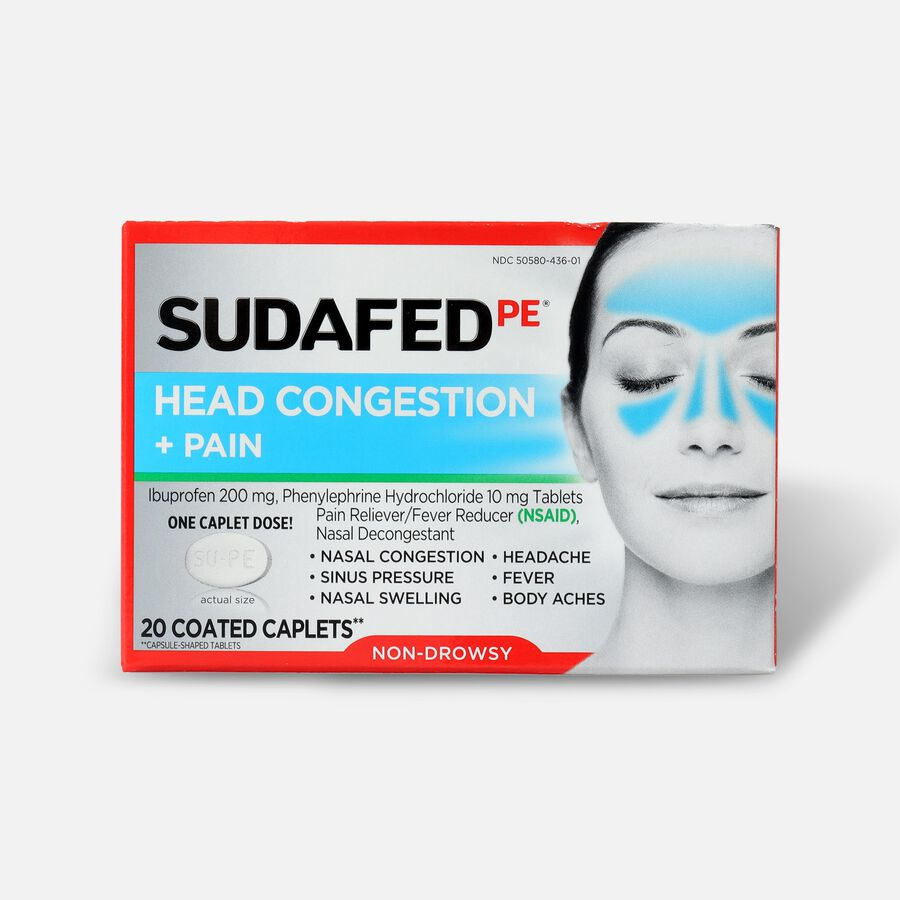 Sudafed PE Sinus Head Congestion + Pain Non-Drowsy Caplets 20 ct, , large image number 0