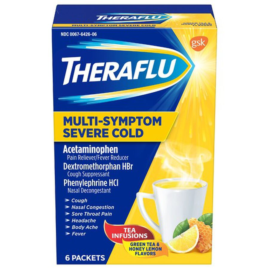 Theraflu Multi-Symptom Severe Cold Hot Liquid Powder Tea Infusions, Green Tea and Honey Lemon Flavors, 6 ct, , large image number 0